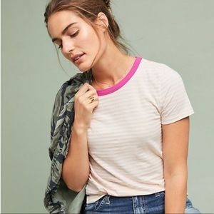 Anthropologie T.La Pink Striped Ringer Tee M X587